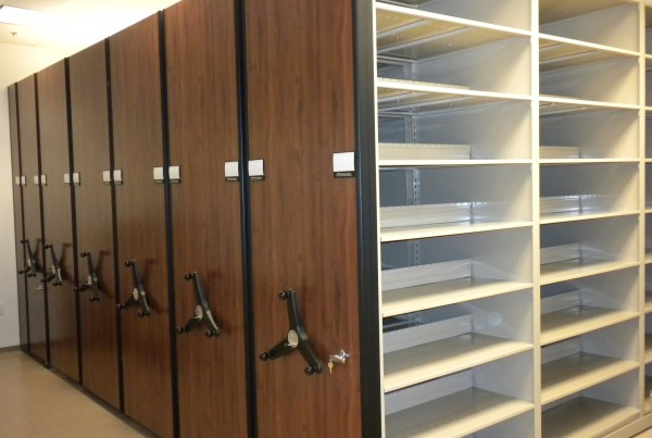 Shared Central File Room High Density Shelving with multiple system locks