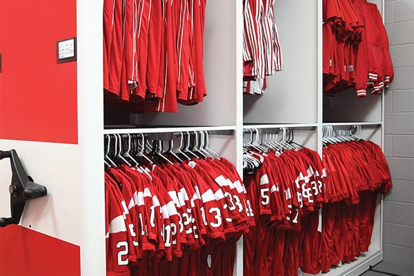 Athletic Uniform Storage Mobile Shelving