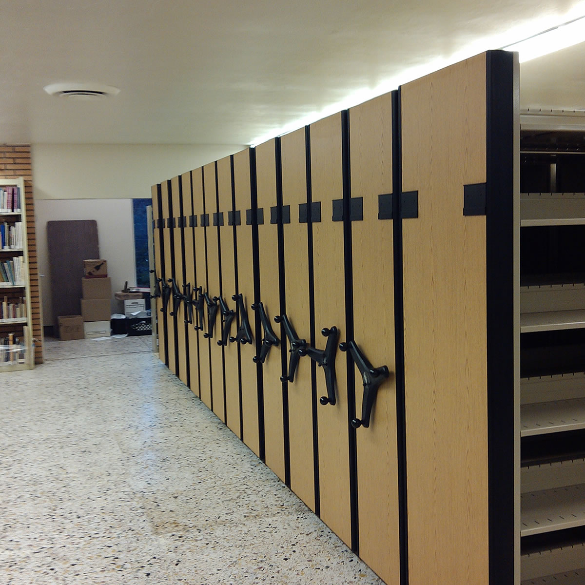 office racking system. Square-Large-Central-File-Room-Mobile-Shelving-System Office Racking System