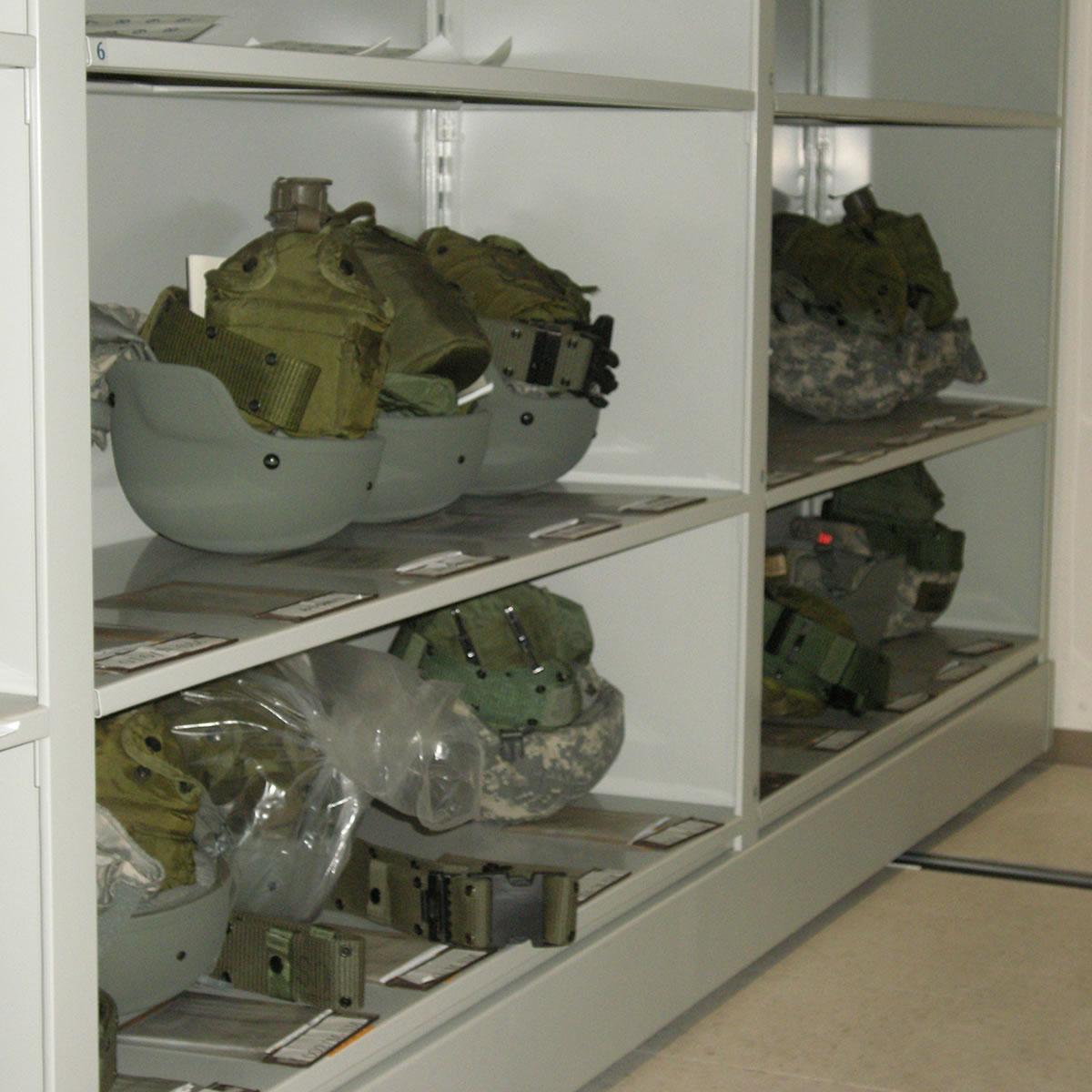 Square Military Helmet Shelving System