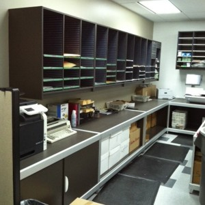 School Mail Room Sorter and Base Cabinets