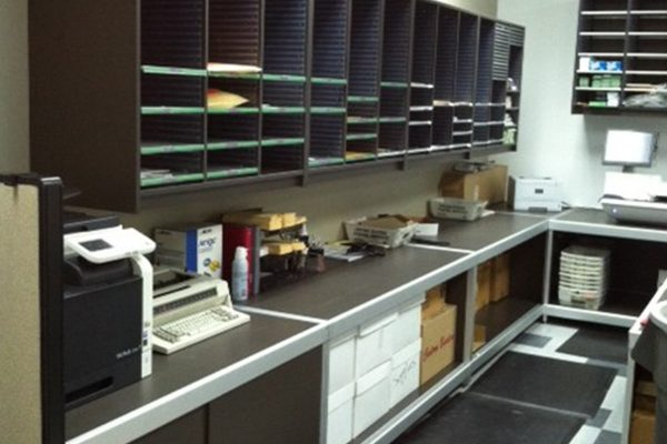 School Mail Room Sorter and Base Cabinets, Aluminum Framed Console Table with mail room sorter and base cabinets