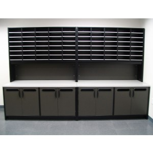 Mailroom Sorter & Mailroom Riser with console table