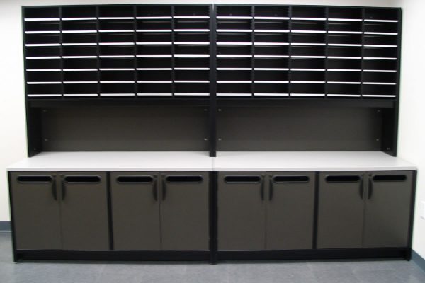 Mail Room Sorter and Rise with Console Table, Mailroom Furniture Design