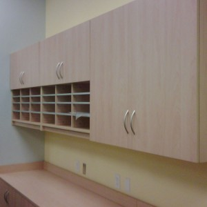 Modular Casework wall mounted with mail sorter