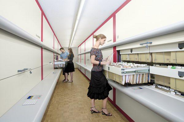 Vertical Carousel for central file room storing hanging folders