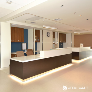 Modular Casework for Office Interior - Reception Area Furniture - Reception Millwork