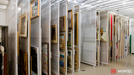 Art Rack System Suspended from Ceiling