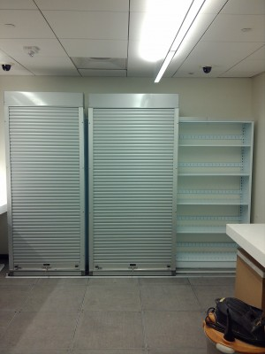 Lateral Compact Shelving with secure sections of shelving