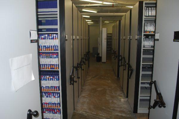 Mobile Shelving for studio film vault storage, High Density Mobile Multi Media Shelving Systems