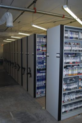 Mobile Storage Shelving for central film tape and audio vault