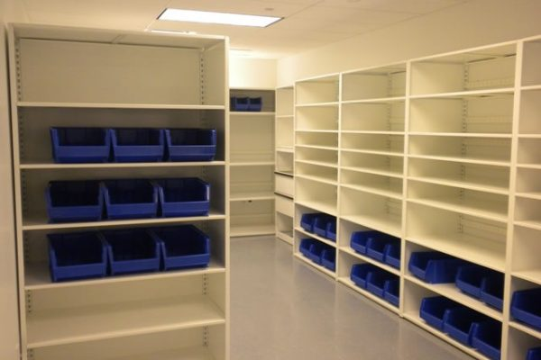 Small Parts Storage L & T Shelving with bins