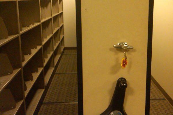 Secure High Density Mobile Shelving, Waist High Floor Lock