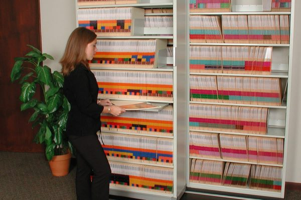 Color Coded Medical Records, Lateral Sliding File Storage Shelving