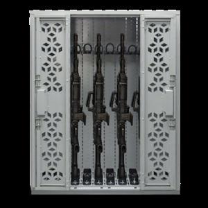 stacked weapon racks, gun lockers, weapon cabinet