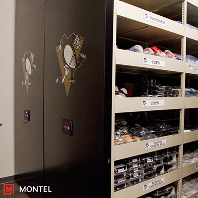 Powered Mobile Shelving System - Team Sports Locker Room Storage