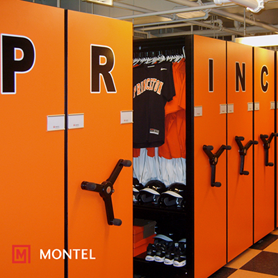 Mobile Shelving Systems for Athletic Equipment & Locker Rooms