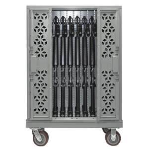 mobile weapon carts, armory carts, universal weapon carts