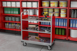 storage with casters, grab and go storage