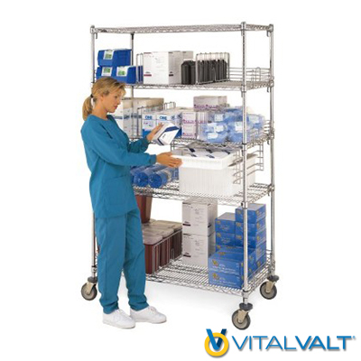 Stand Alone Wire Shelving Units on Casters